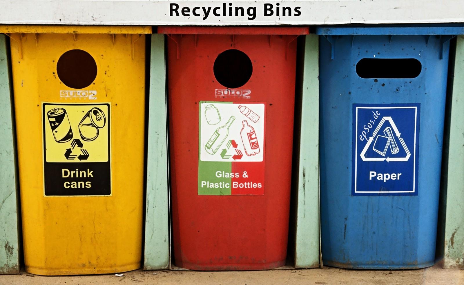 3 recycling bins